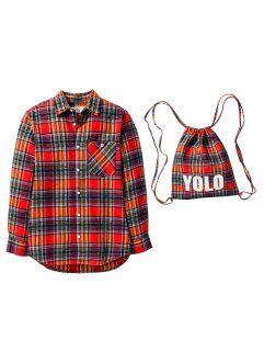Мягкая фланелевая рубашка + мешок для спортивных вещей (2 изд.), bpc bonprix collection, оранжевый в клетку