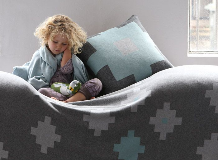 Luna Gallery's gorgeous Tetris Blankets and Cushions are made from 100% pure combed cotton and are designed and made in Melbourne, Australia. Now available at Home Productions