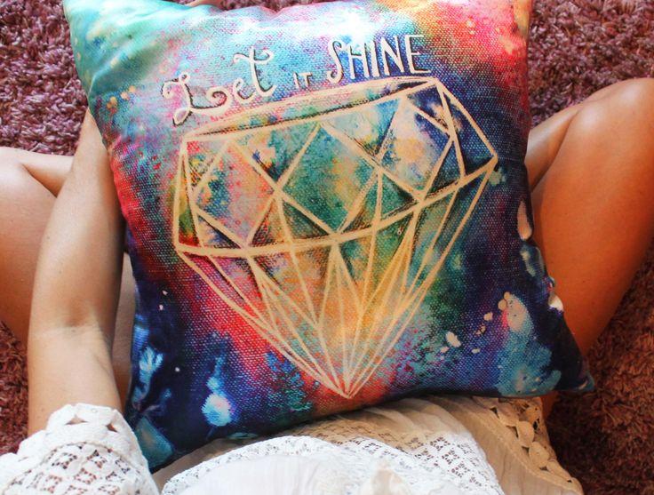 """Cuscino quadrato """"lascia che risplenda"""" cuscini decorativi diamante, cuscini divano, dipinto a mano, scritta dichiarazione, regalo per lei di laKuki su Etsy"""