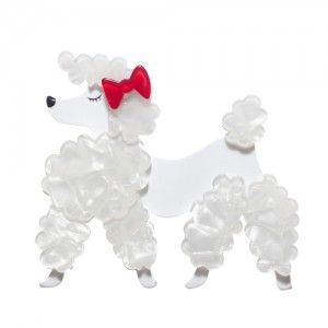 Paige the Prancing Poodle (White Resin  Brooch)