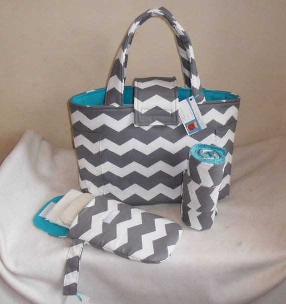 Large Gray Chevron Diaper Bag Set with Changing Mat and Diaper Clutch on Etsy, $79.99