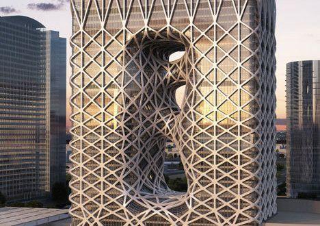 Exposed Exoskeleton 40 Story Sculptural Hotel | HM-decor