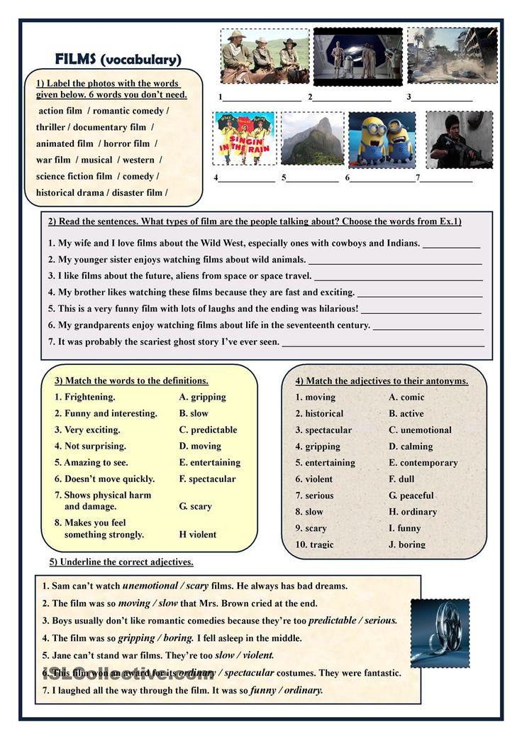 Films (vocabulary exercises) Aulas de inglês, Estudo de