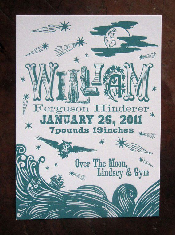 Letterpress Birth Announcement- I like the eclectic letters, could look cute with some designs like from the kumari garden fabrics