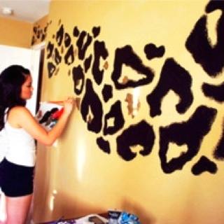 cheetah print wall I love this for my craft room/office one day