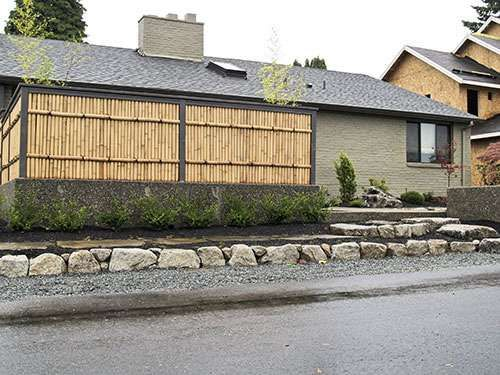 Japanese Fence Panel In Front Of A Residential House