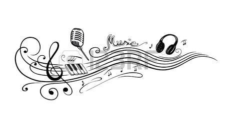 Clef with music notes, microphone and piano