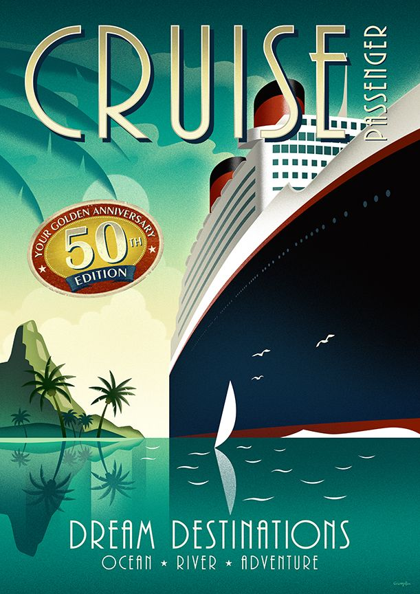 50th. Anniversary cover and poster for Cruise Passenger Magazine.  Illustration by Michael Crampton.