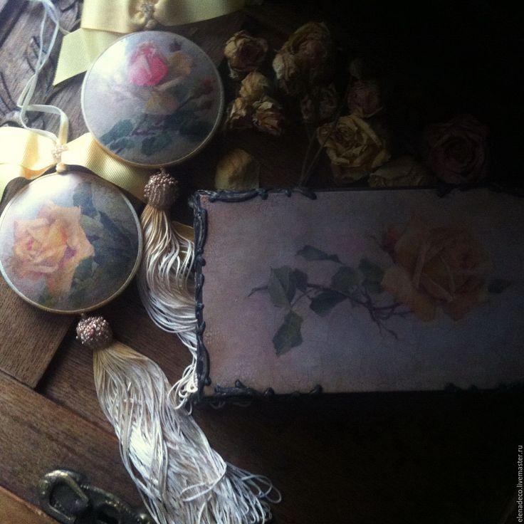"""Купить """"Желтые розы"""" Шкатулка и пара медальонов - желтый, желтые розы, шкатулка, шкатулка для украшений"""