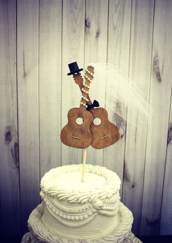 Guitar wedding cake toppermusicianwedding cake by MorganTheCreator, $29.50 THIS CRACKS ME UP!