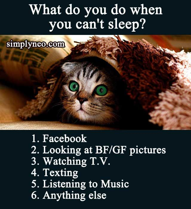 quiz challenges What do you do when you can't sleep? 1 Facebook 2