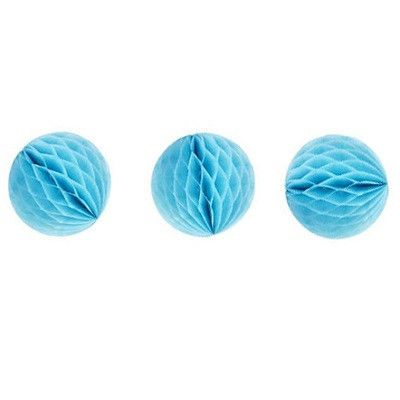 Ruby Rabbit Partyware - Tiny Sky Blue Honeycomb Balls (3 pack)