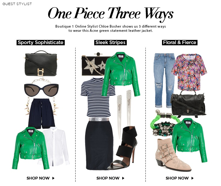 One Piece Three Ways : Online Stylist Chloe Bosher shows us 3 different ways to wear this Acne green statement leather jacket