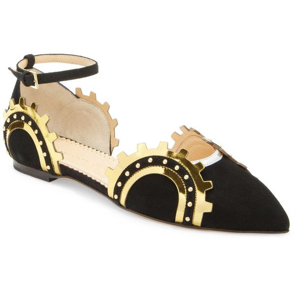 Charlotte Olympia Women's Machine Age Flat - Size 34 ($319) ❤ liked on Polyvore featuring shoes, flats, multi, charlotte olympia, beaded flat shoes, pointed toe shoes, metallic pointed toe flats and adjustable shoes