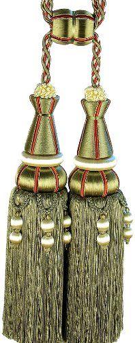 Xia Home Fashions Artisan Oversized Double Tassels, Burgundy/Gold U003eu003eu003e Donu0027