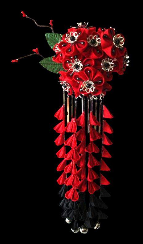 Red + Black Maiko Kanzashi by thedrunkenprincess.deviantart.com on @DeviantArt