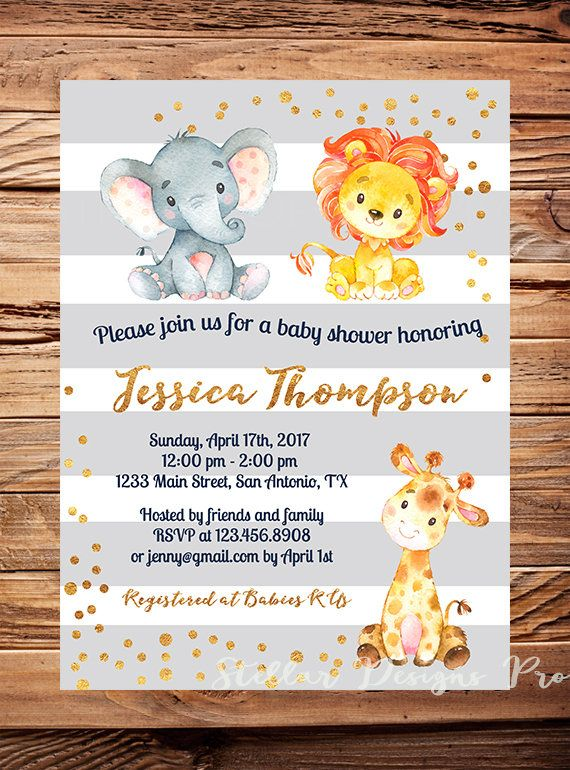 Elephant Baby Shower Invitation Gender