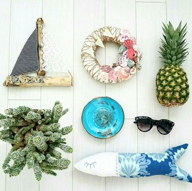 Nyár, napfény, kaktusz, hajó, hal, kagylók, ananász....Summer, sun, cactus, ship, fish, shellfish, pineapple ....