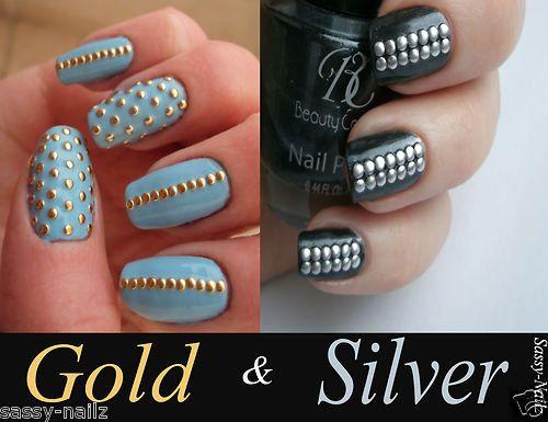 Gold Metallic Nail Studs or Silver Metallic Nail Studs on Etsy, $3.50