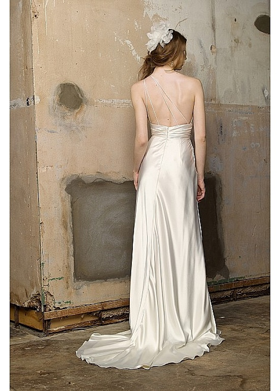 Elegant Stretch Satin Sheath One Shoulder Neckline Empire Waist Bridal Dress