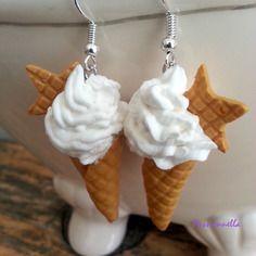 Boucles d'oreilles fimo glaces italiennes étoiles gauffrées