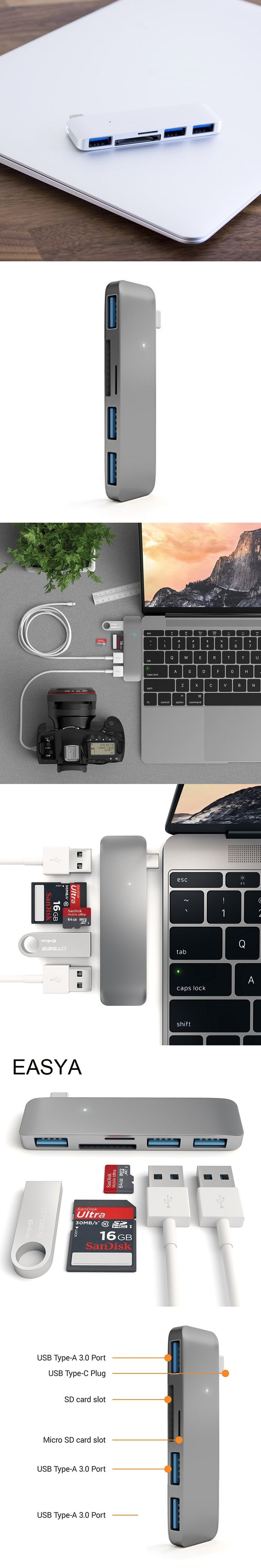 Best 25 thunderbolt hub ideas on pinterest tech macbook pro easya high speed usb type c hub 30 5 in 1 usb c buycottarizona