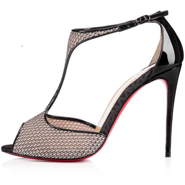 TINY ISIBEE/PATENT, BEIGE/BLACK, Fishnet, Women Shoes, Louboutin. (16.332.625 VND) ❤ liked on Polyvore featuring shoes, black patent shoes, kohl shoes, patent shoes, black patent leather shoes and t strap shoes