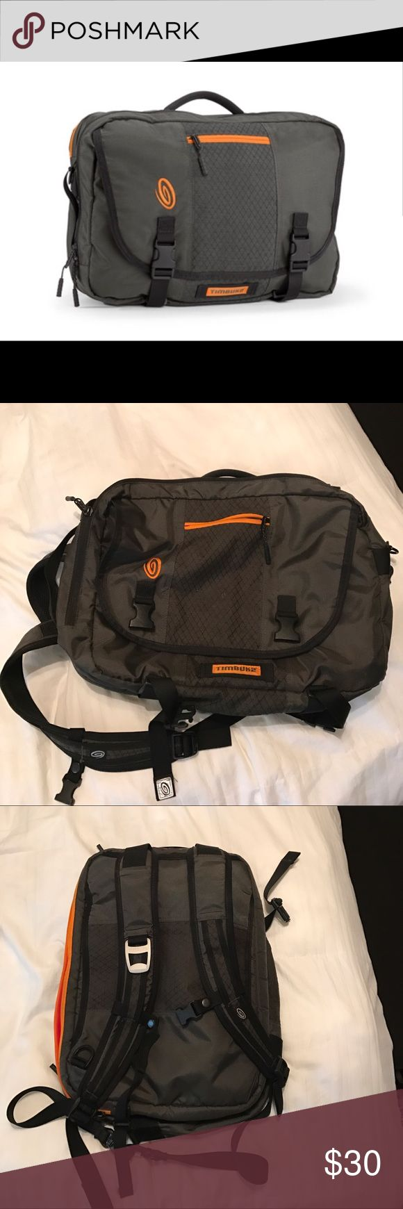 Timbuk2 Backpack Awesome bag with laptop sleeve. Can be worn as a backpack or carried as a messenger bag. Last picture is a different color but shows how it can be worn on your back. These are great durable bags! No rips or stains Timbuk2 Bags Backpacks