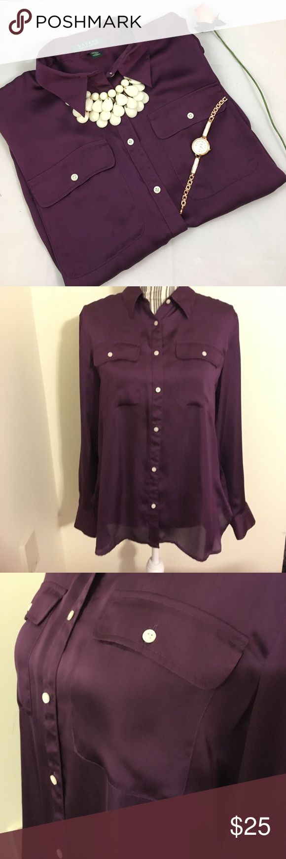 Beautiful Dark Purple Button Up Long Sleeve Blouse Beautiful Blouse worn once and in excellent condition. This fits true to size Large and is the perfect addition to your work wardrobe! There may be minor signs of wear but nothing noticeable when worn. Lauren Ralph Lauren Tops Button Down Shirts