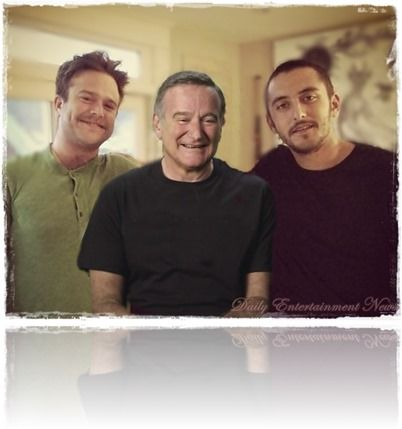 Robin Williams with his sons Zachary Pym Williams and Cody Alan Williams.