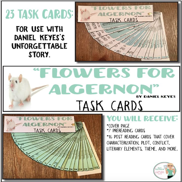 """Use these 23 task cards to analyze Daniel Keye's intriguing short story, """"Flowers for Algernon."""" Engage students and let them delve into the story to discover figurative language, theme, characterization, cause and effect, compare and contrast, and much more.   These task cards work perfectly for individual, small group, or whole class assignments, as during reading assignments or assessments, as interactive notebook pages or posters...the possibilities are endless."""