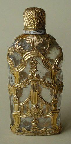 ANTIGUO-CA-1750-GOLD con carcasa de cristal con perfume BOTELLA-BLANCO-ESMALTE-BAND-INGLÉS