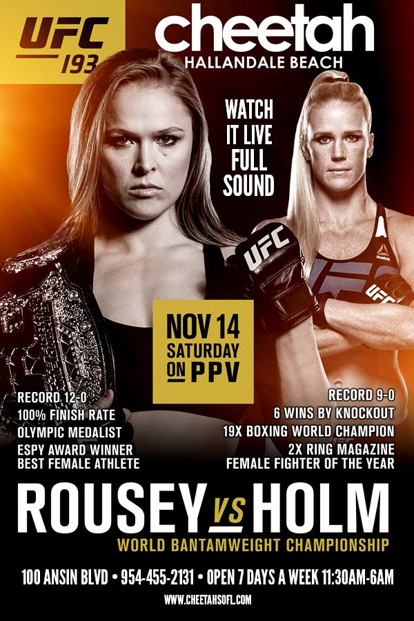 Watch it at Cheetah Live! UFC 193  Rousey vs Holm   #rousey #Holm #ufc193