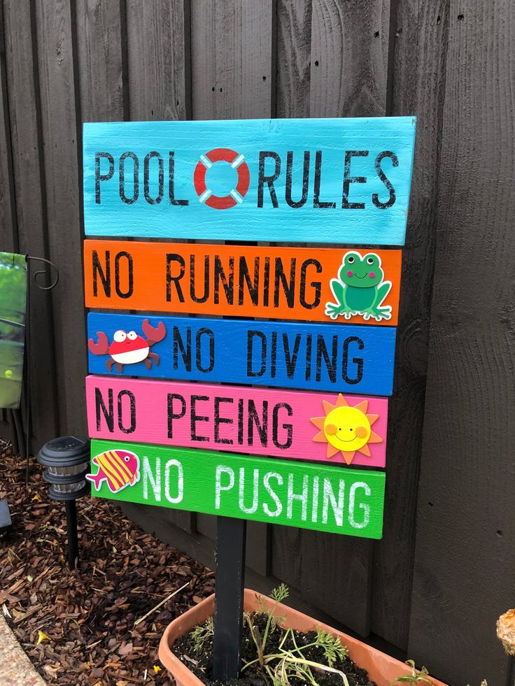 Pool Rules // Hand Painted Wood Sign // Arrows // Hot Tub