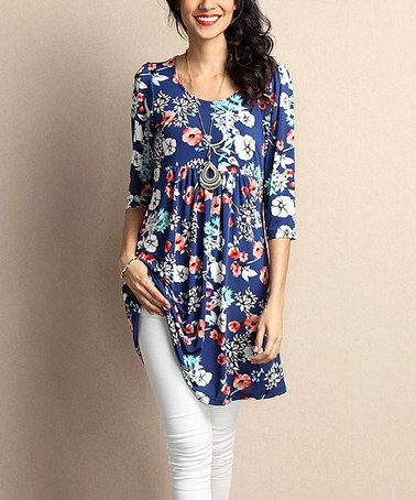 Loving this Blue Floral Empire-Waist Tunic Dress on #zulily! #zulilyfinds