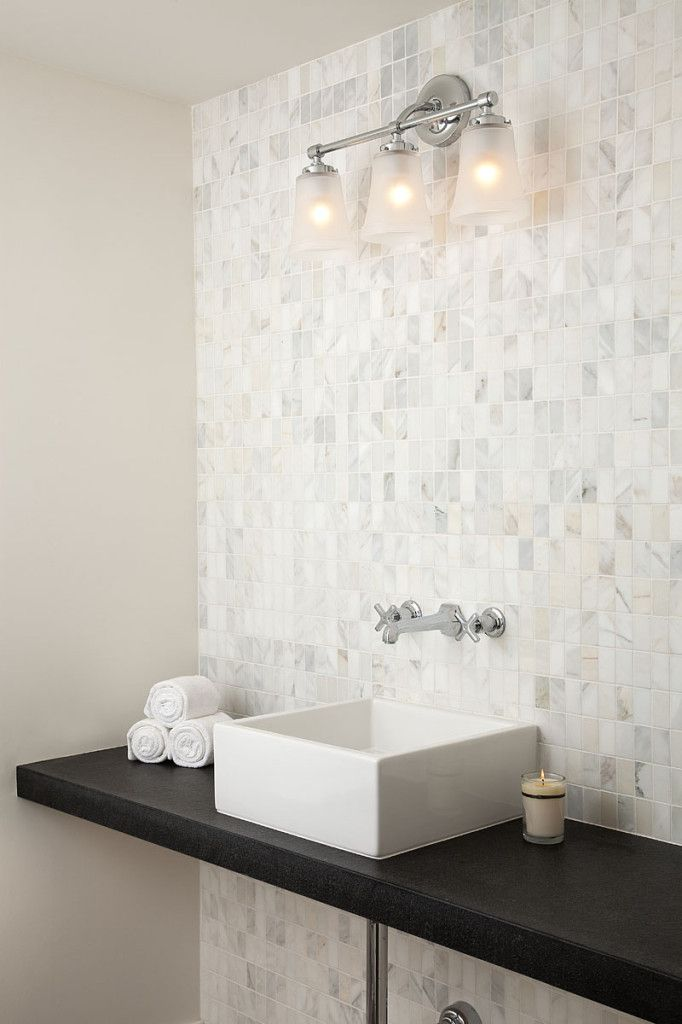 Bathrooms Tuo Sogno Marble Mosaic Stacked Backsplash