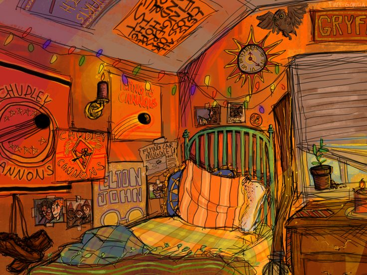 Ron Weasley's very, very orange bedroom!