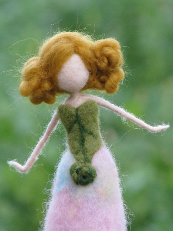 Needle felted Waldorf inspired doll Spring flower by Made4uByMagic