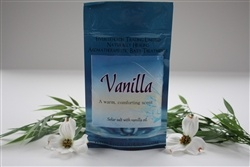 Bath Salts - VANILLA (200 g.)    Solar Salt with Vanilla oil. A warm, comforting scent.    Package of 200 gr.    Produced in Canada