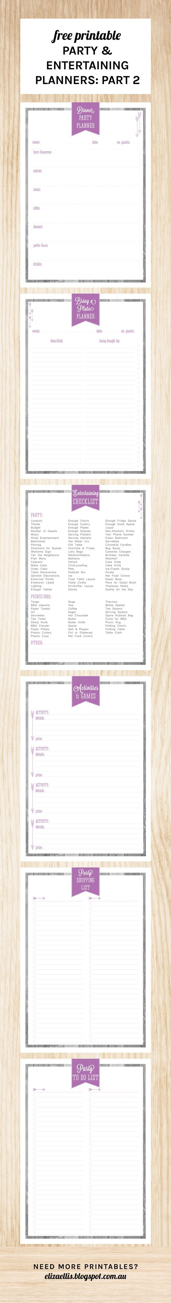 Free Printable Party & Entertaining Planners Part 2. This set includes: Dinner Party Planner, Bring a Plate Planner, Entertaining Checklist, Activities & Games Planner, Party Shopping List and Party To Do List. Mix and match your party planners to suit the event you're hosting - you can find Part One with six more party planners on the blog :)