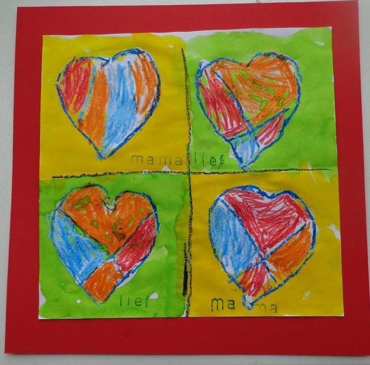 Kunstwerkje voor moederdag. Verf de buitenkant met ecoline, de binnenkant van het hart kleur je met 4 verschillende kleuren wasco. Idee van Lida