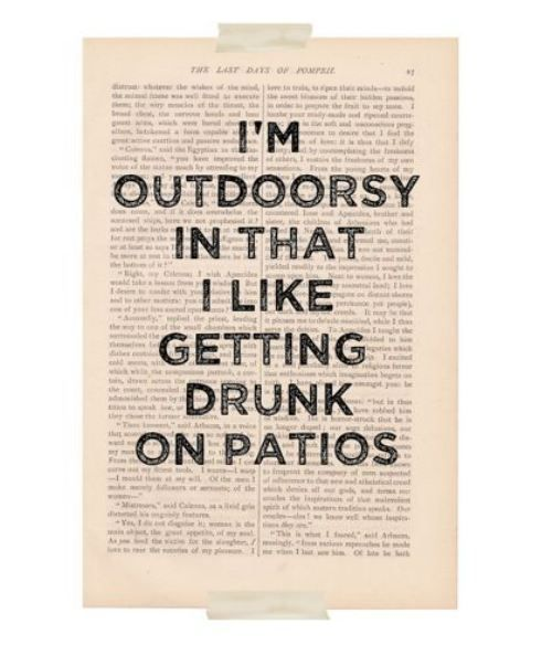 LOL: Books Pages, Quote, Art Prints, Patio, Get Drunk, So True, True Stories, Dictionary Art, I M Outdoorsy