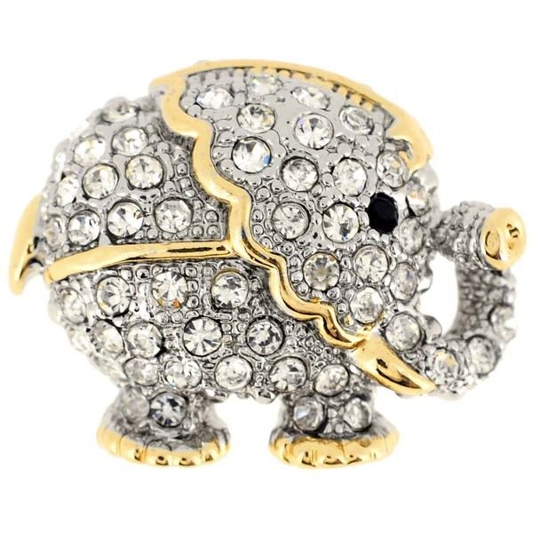 Two-tone Gemstone Elephant Animal Pin Brooch