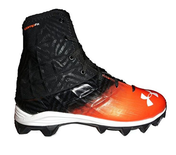Youth 159061: Boys Under Armour Highlight Rm High Top Football Cleats Black Orange 6 New BUY IT NOW ONLY: $35.99