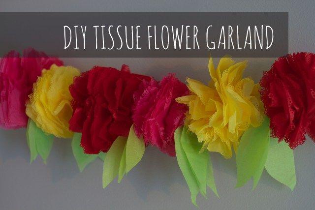 Cinco De Mayo DIY Craft. Tutorial to make tissue paper Flower Garland