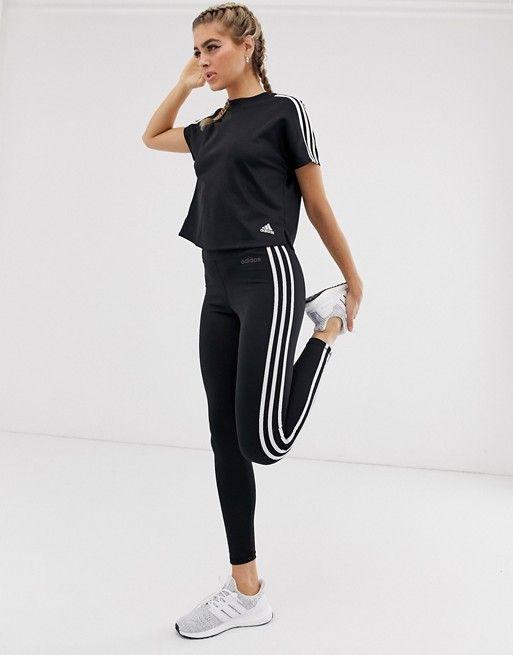 adidas training three stripe leggings in black asos