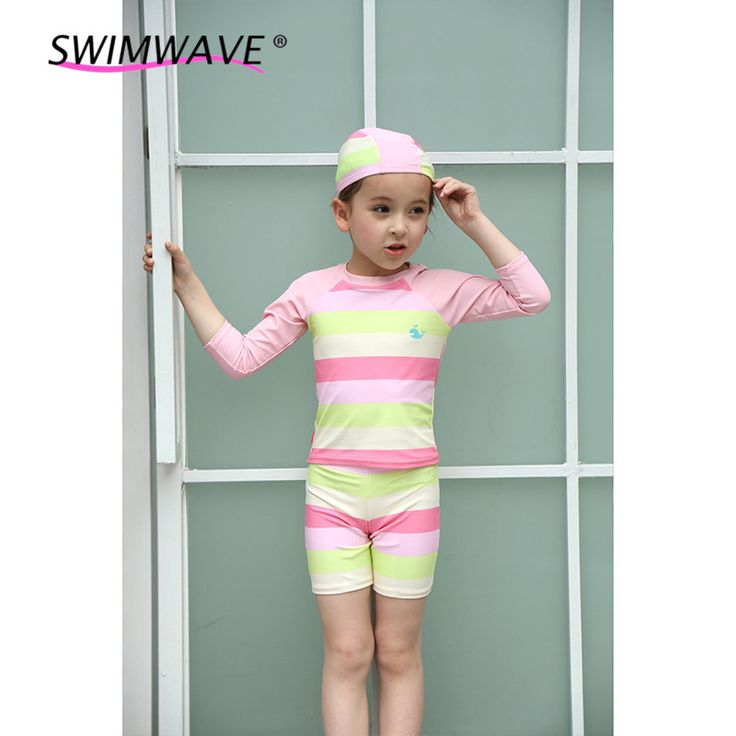 2 to 8 Years Striped Baby Two Pieces Swimwear Kids Long Sleeved Swimsuit Children Boys Girls Bathing Suits Beachwear With Cap