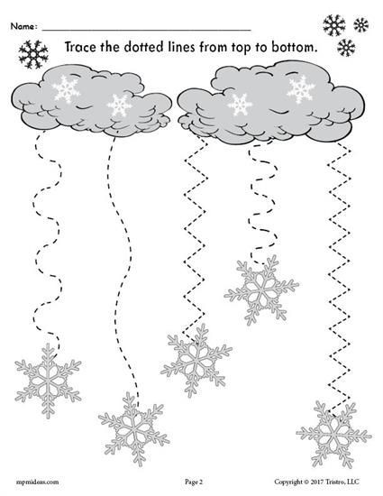 FREE Printable Snowflake Line Tracing Worksheet with Curved and Zig Zag Lines! Practice tracing skills, fine motor skills and more with your preschoolers and kindergartners using these winter themed tracing worksheets. Get both snowflake line tracing worksheets here --> https://www.mpmschoolsupplies.com/ideas/7883/free-printable-winter-snowflakes-line-tracing-worksheets/