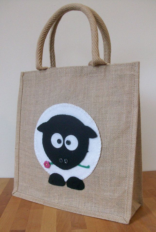 Natural Jute Hessian Animal Medium Shopping Bag -  Felt  Sheep Motif £12.50