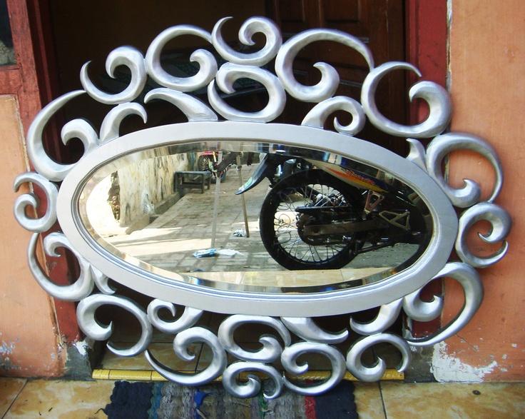 cermin oval silver